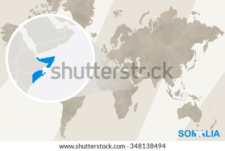 Zoom on Somalia Map and Flag. World Map. Rasterized Copy. | EZ Canvas
