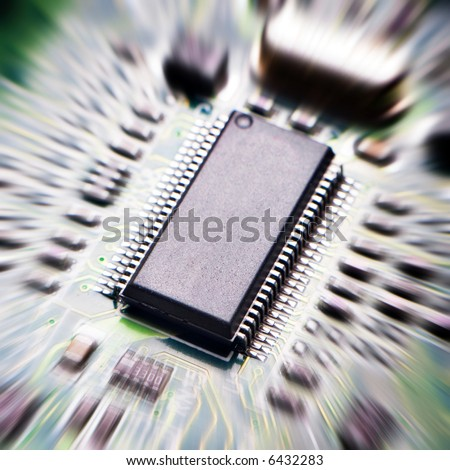 zoomed background with motherboard's electronic circuit