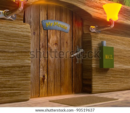 Zoomed view on mister mouse home wooden door