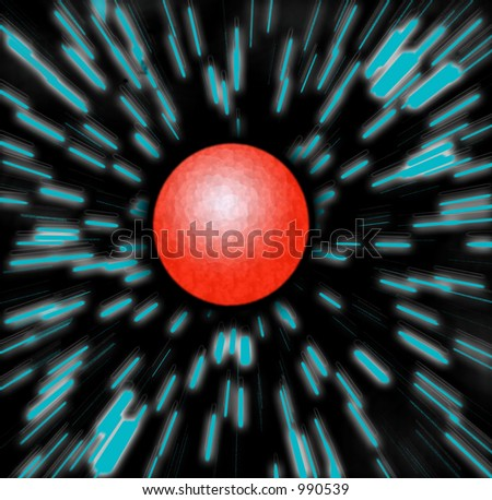 Zooming at warp speed / hyperspace towards a red planet - could be mars.  Hyperdrive Zoom Blur