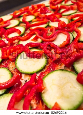 zucchini and sweet pepper topping
