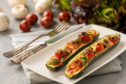 Zucchini pizza boats, low carb food.