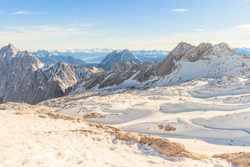 Zugspitze Glacier Ski Resort in Bavarian Alps, Germany. The Zugspitze, at 2,962 meters above sea level, is the highest mountain in Germany