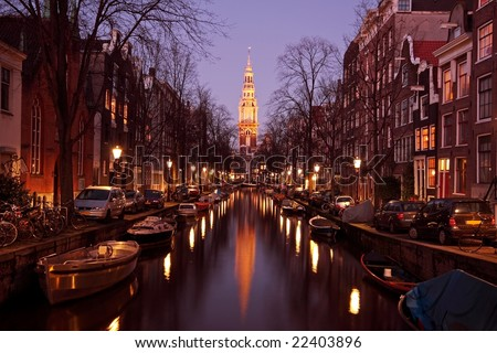 Zuiderkerk in Amsterdam Netherlands at twilight