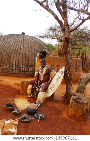 ZULULAND SOUTH AFRICA SEPTEMBER 14 Zulu Chief in Shakaland Zulu Village on September 14 2009 A unique cultural center built on the set of movies Shaka Zulu and John Ross