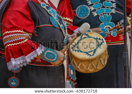 Zuni Indian plays drum in ceremony in Gallup, New Mexico Gallup, New Mexico, July 21, 2016 - Government Center Plaza