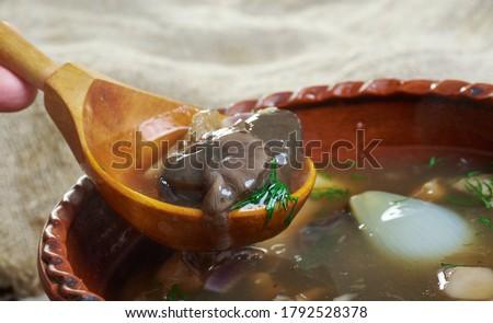 Zupa grzybowa - Polish wild mushroom soup Zdjęcia stock ©