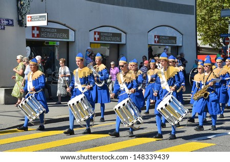 ZURICH - AUGUST 1: Traditional parade in Zurich on the Swiss National Day, August 1, 2013 in Zurich