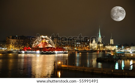 Zurich downtown by night - stock photo