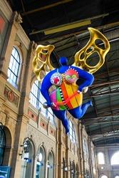 Zurich HB, Guardian Angel, Niki de St. Phalle, Main Station, Christmas Market , On 22 October 2016 , Zurich, Switzerland