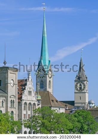 Zurich landmarks: the City Hall (German: Stadthaus), the St. Peter Church, the Lady Minster (German: Fraumunster).