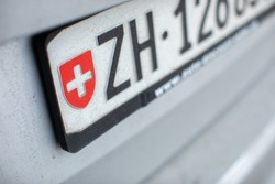 Zurich license plate on a car in Switzerland
