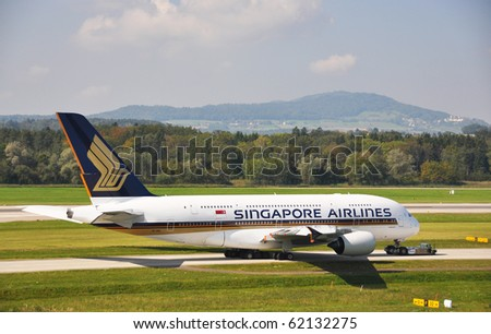 ZURICH - SEPTEMBER 19: A-380 at take-off on September 19, 2010 in Zurich. A-380 Singapore Airlines on the runway of Zurich airport