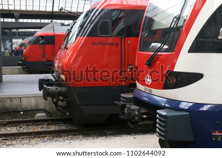 ZURICH, SWITZERLAND: MAY 21, 2018 - Trains of the Swiss Federal Railway in Zurich Station. #1102644092