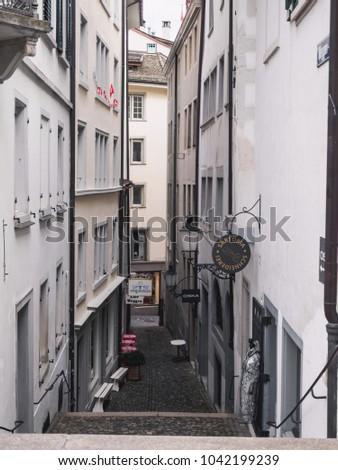 Zurich, Switzerland - September 18, 2017: View of historic Zurich city center. #1042199239