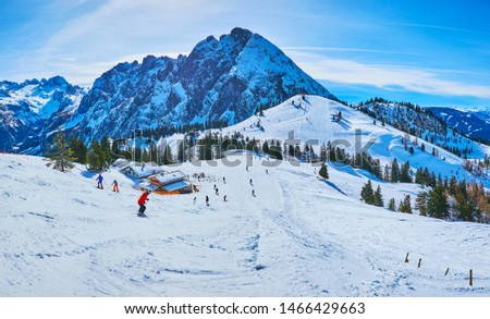 Zwieselalm mountain boasts gentle slopes, covered with numerous ski trails of different levels of difficulty, making it popular among the sportsmen and tourists, Gosau, Austria