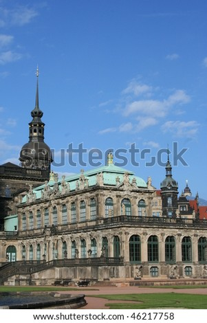 Zwinger  and the Dresden Palace in Dresden Germany