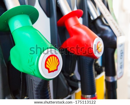 ZWOLLE, THE NETHERLANDS - FEBRUARY 3, 2014: Filling nozzles at a Shell gas station.