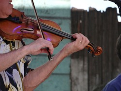 Zydeco Cajun violinist performing at the Waterfront Blues Festival, Portland, Oregon