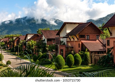 Stock picture of small village up in the mountains