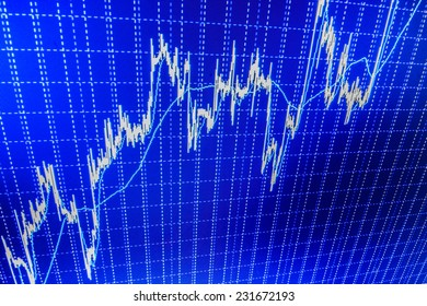 Stock profit graph for diagram. Business stock exchange. Dollars table computer. Price movement. Display of Stock market quotes. Stock exchange market. Data analyzing. Charts and quotes on display.