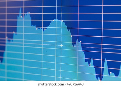 Stock quotes chart on monitor screen