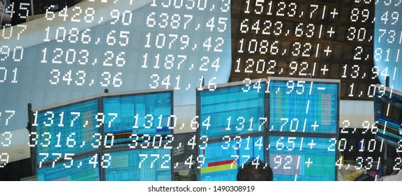 Stock Quotes, Stock scoreboard with numbers