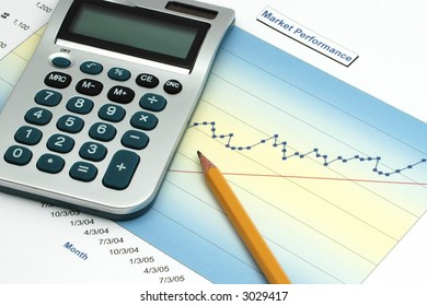 Stock Report with Calculator and Pencil