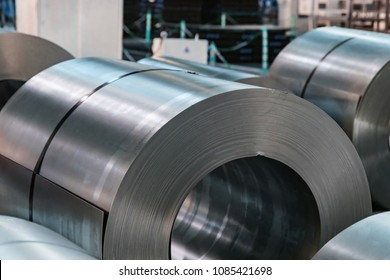 Stock with rolls of sheet steel in industrial plant