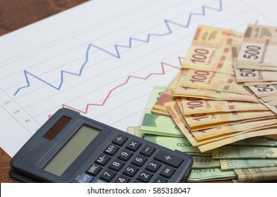 Stock or sales figures on chart. Pile of Mexican peso banknotes. Stack of cash. Business or stock market concept image. 100 and 500 peso notes with calculator.