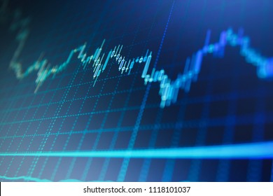Stock trade live.  Stock market graph and bar chart price display.  Bullish point, Bearish point trend of graph. Selective focus creative effect. Conceptual view of the foreign exchange market.