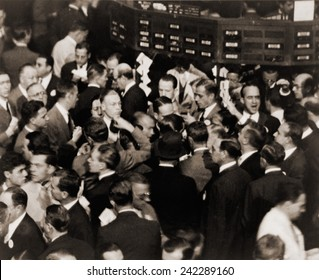 Stock traders on the floor of the New York Stock Exchange in 1936.