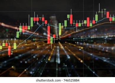 Stock trading chart graph,Buisiness growth,background abstract light