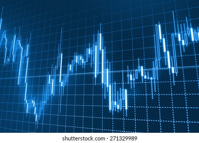 Stock trading chart on monitor screen. Finance background. Blue color.