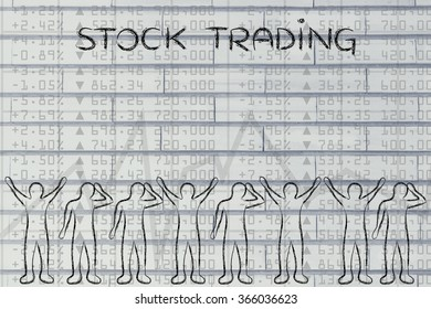 stock trading: group of investors with mixed feelings, happy or sad