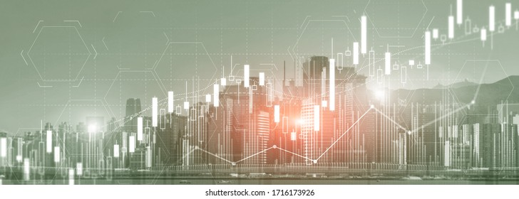 Stock trading, investment, candle stock market chart diagram website header banner city view skyline.