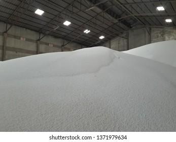 Stock urea pile in warehouse waiting for shipment Bao type.