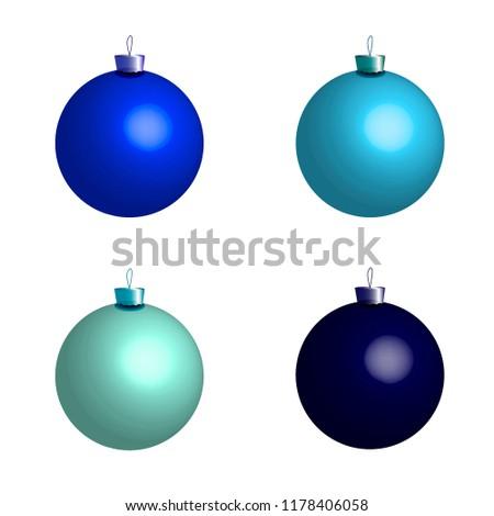 Шарики для елки, украшения для елки. Изолированные шарики. Счастливого Рождества. Рождественская декорация. Новогодний наряд. Для веб-дизайна, печать, вектор. Сток-фото ©