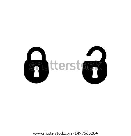 Значок замка в модном плоский стиль, изолированные на белом фоне. Символ безопасности для дизайна вашего веб-сайта, логотип, приложение, пользовательский интерфейс. Векторная иллюстрация, EPS10. Сток-фото ©