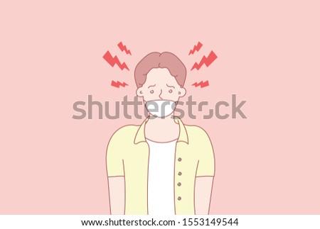 Человек в маске. вирус. Ручной обращается стиль вектор дизайн иллюстрации. Векторный стиль дизайна для  веб-сайта, брошюры, газеты. Сток-фото ©