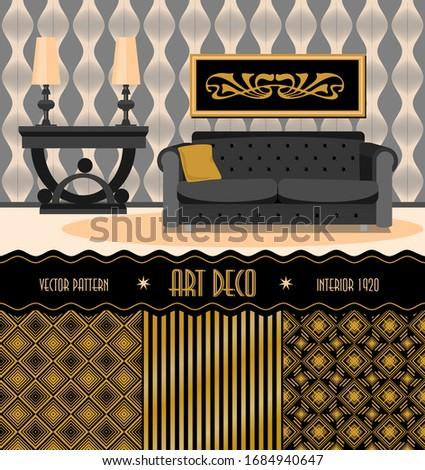 Набор бесшовных фонов и предметов интерьера в стиле арт деко. Золото и черный. Винтажная векторная иллюстрация.  Сток-фото ©