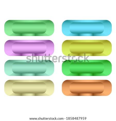 Кнопки для сайта стекло. Кнопки для веб дизайна. Buttons for the website. Vector color set of eight images. Сток-фото ©