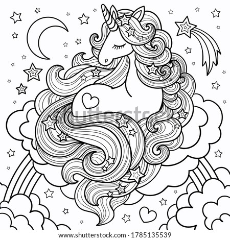 A beautiful unicorn with a long mane lying on the clouds and rainbow. Linear, black and white drawing.  For coloring books, tattoos, postcards, prints, posters, banners, stickers. Vector illustration