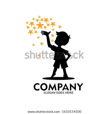a boy's logo staring at a