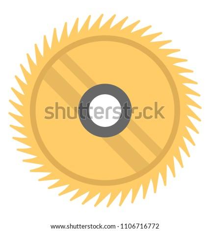 A circular saw blade for wood cutting, flat vector