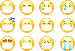 A collection of emoticons in protective masks against infection.