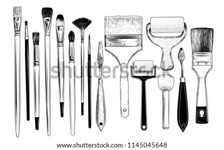 A collection of sketches of art brushes, palette  knifes and foam rubber rollers. A variety of tools in vintage style. Hand-drawn vector design elements. Clipart.