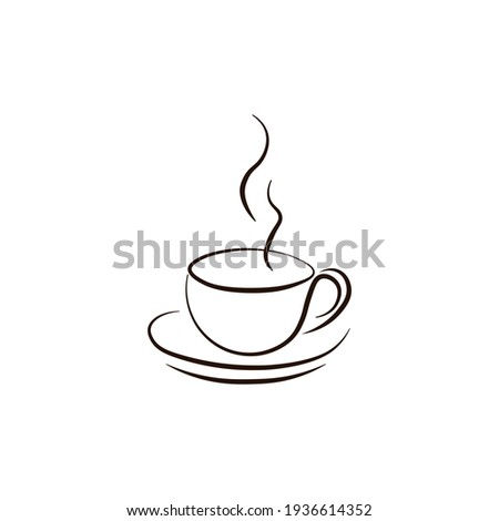 A cup of hot coffee. Logo icon. Vector illustration Foto d'archivio ©