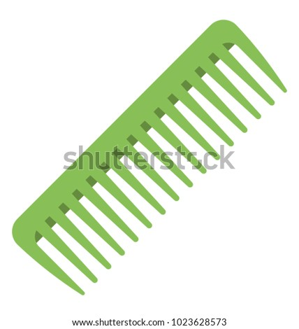 A flat vector icon of a wide tooth comb mainly used for getting out tangles