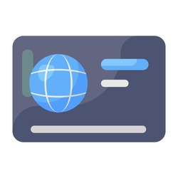 A flat vector of bank card, editable icon